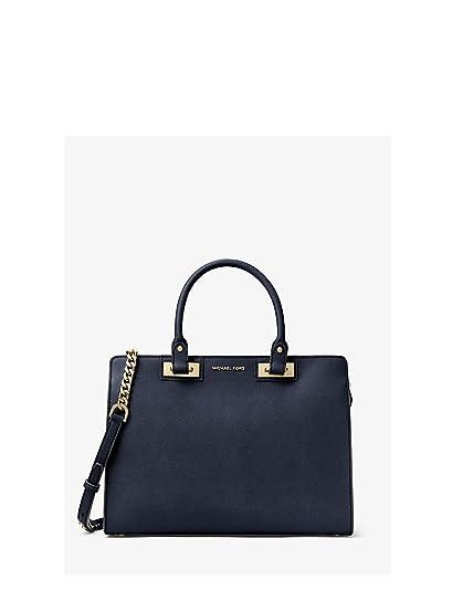 ffb642e1e961da Amazon.com: Michael Kors Quinn Large Saffiano Leather Satchel (Navy Blue):  Shoes