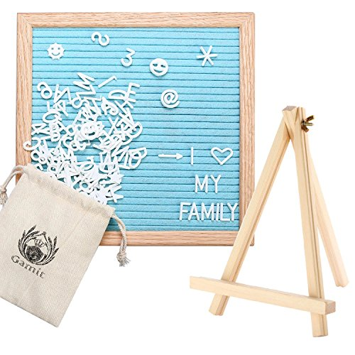 Felt Letter Board Oak Wooden Frame 10 x 10 inches,Letter Organzier with Stand,338 White Letter and Symbols, Black,Grey,Pink,Blue,Purple Changeable Felt Letter Board.