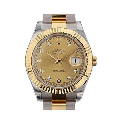 Rolex Datejust II 41mm Champagne Diamonds Dial Stainless Steel And Gold Men's Watch 116333