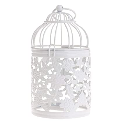 Hollow Holder Candlestick Tealight Hanging Lantern Bird Cage Vintage Wrought New Candles & Holders