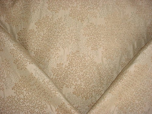 29H12 - Gold / Golden Brown Leaf / Stem Floral Chenille Designer Upholstery Drapery Fabric - By the Yard