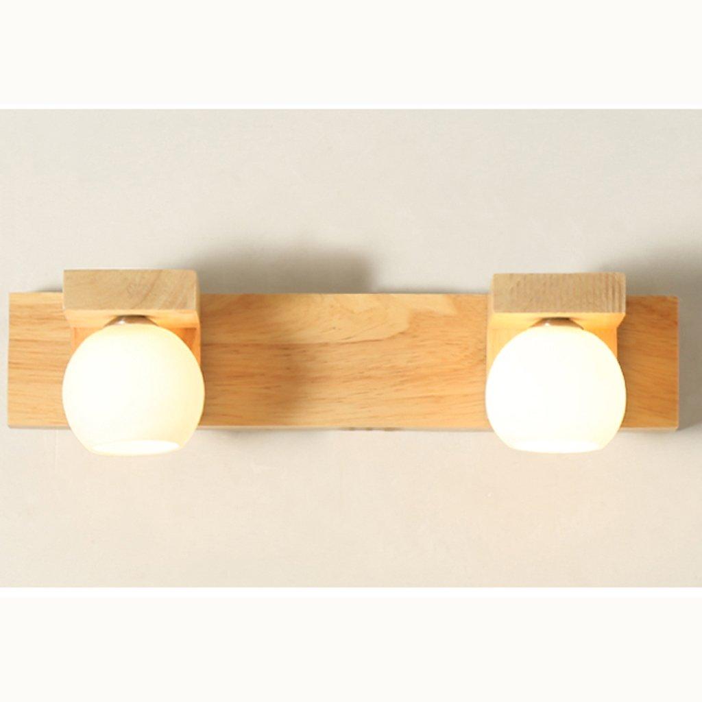 Ali Massivholz Spiegel Scheinwerfer einfache moderne Wohnzimmer Wandleuchte Schlafzimmer Nachttischlampe Bad führte Holz Lampe (Farbe   2 head)
