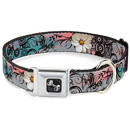 Dog Collar Seatbelt Buckle Flowers Filigree Pink 13 to 18 Inches 1.5 Inch ()