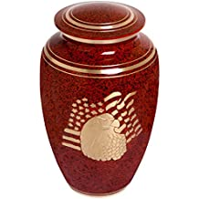 Red Funeral Urn by Liliane Memorials - Cremation Urn for Human Ashes - Hand Made in Brass - Suitable for Cemetery Burial or Niche- Large Size fits remains of Adults up to 200 lbs- American Eagle Model