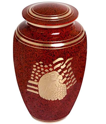 Red Funeral Urn by Liliane Memorials – Cremation Urn for Human Ashes – Hand Made in Brass – Suitable for Cemetery Burial or Niche- Large Size fits remains of Adults up to 200 lbs- American Eagle Model