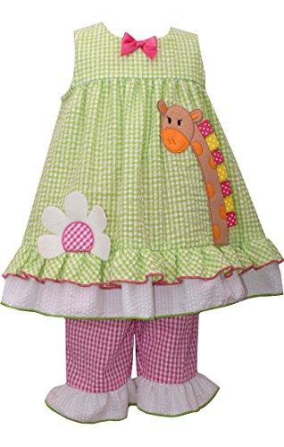 Bonnie Baby Baby Girls' Bunny Appliqued Seersucker Playwear Set, Green, 6-9 (Capris Satin Girls)