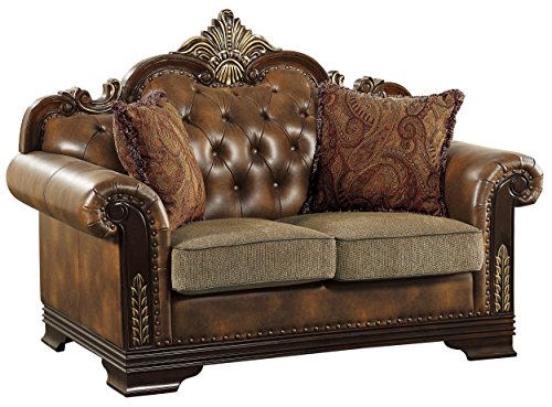 """Homelegance Croydon Traditional Two-Tone Love Seat, 65""""W, Brown PU Leather"""