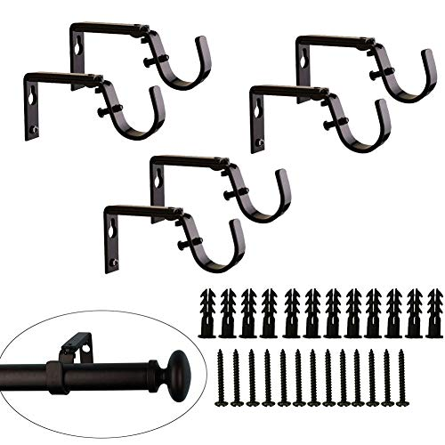 VintageBee 6PCS Curtain Drapery Rod Bracket for 1-Inch Rod, Adjustable (Oil-Rubbed Bronze)