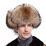 Men's Silver Indigo Fox Fur & Leather Trapper Hats