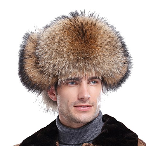 Men's Silver Indigo Fox Fur & Leather Trapper Hats by URSFUR