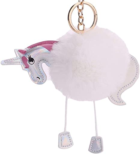 LANYUER Llavero de unicornio de pelota de pelo sintético suave ...