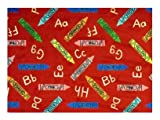 Crayons Red Multi - 2'x3' Custom Stainmaster Premium Nylon Carpet Area Rug ~ Bound Finished Edges