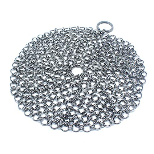 (Cast Iron Cleaner Chainmail with Hook, 316 Stainless Steel Cast Iron Scrubber with Corner Ring, Anti-Rust Cleaner for Crucible Cookware Cast Iron Pan Skillet Ovens Grill Scraper)