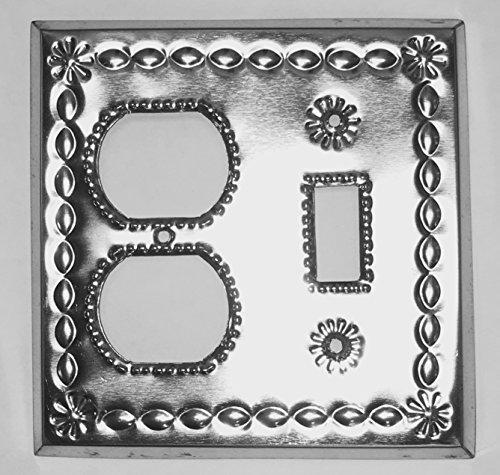 (Artesanos Beveled Shiny Tin Single Toggle Single Duplex Combo Cover Plate)