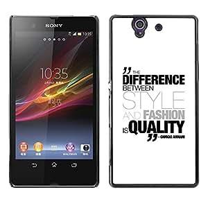Be Good Phone Accessory // Dura Cáscara cubierta Protectora Caso Carcasa Funda de Protección para Sony Xperia Z L36H C6602 C6603 C6606 C6616 // Differenece Style Fashion Quality Qu