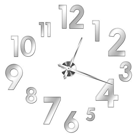 XXL 3D reloj gigante decorativo de plata para pared de salón, con cifras