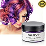 MOFAJANG Purple Hair Color Wax, Temporary Hairstyle Cream 4.23 oz Hair Pomades, Natural White Hairstyle Wax for Party, Cosplay, Halloween, Date (Purple)