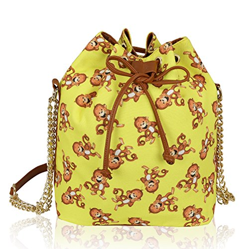 Kleio Printed Canvas Drawstring Bucket Shoulder Bag Retro Crossbody Handbag Purse For Women Girls Ladies (Monkey, Yellow)