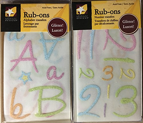 (American Traditional Boxed Rub-ons Bundle - Alphabets & Numbers - Pastel Pink & Blue )