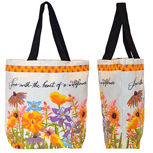 Shopper Tote Bag - Floral Design Heart Of A Wildflower, Eco-Friendly Reusable Multipurpose Canvas Grocery ()