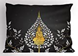 Lunarable Asian Pillow Sham, Ancient Religious Thai Character with Floral Elements Meditation, Decorative Standard Queen Size Printed Pillowcase, 30 X 20 inches, Charcoal Grey White Yellow