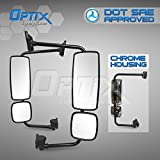Optix Freightliner Columbia - Business Class M2 - Chrome Complete OE Replacement Pair Mirror Assembly - DOT / SAE Approved