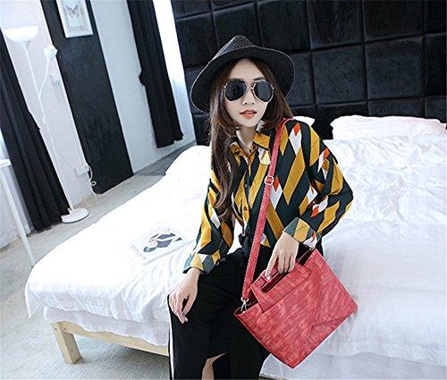 Wewod 2 Piezas Conjunto Moda Bolsas de PU Cuero Con Asas Bolsos Bandoleras Bolso Messenger para Mujer 26 x 20 x 10 cm (L*H*W) Rojo