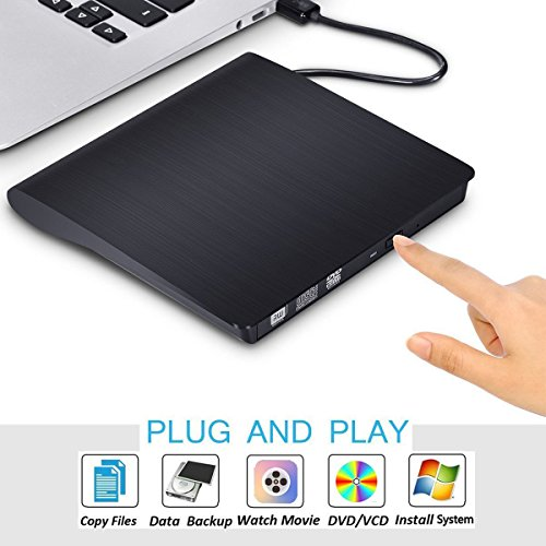 External CD Drive for Laptop, Sibaok USB 3.0 Optical DVD Disc Player Drive External, Portable CD DVD-RW Writer Burner Player for Macbook Pro PC Computer Windows 7/8/10/ Mac OSX, Black