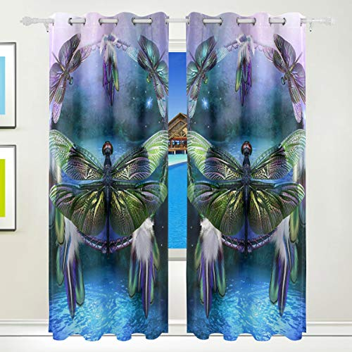 Window Curtains for Bedroom Living Room - Grommet Top 2 Panels, Dream Catcher Spirit of The Dragonfly Blackout Thermal Insulated Curtain Panel ()