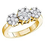14k Yellow Gold Three Flowers Diamond Ring Round Cluster Promise Band Bridal Style Floral 2.00 ctw Size 7