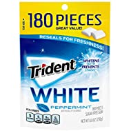 Trident White Peppermint Sugar Free Gum, Value Pack, 180 Pieces