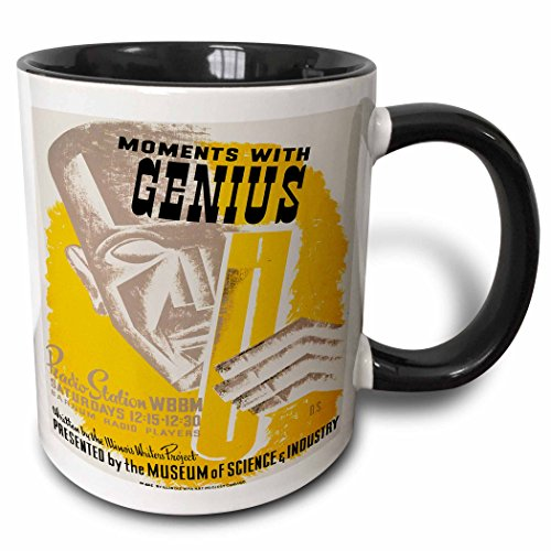 3dRose BLN Vintage WPA Posters Collection - Moments with Genius Radion Show Museum of Science and Industry - 11oz Two-Tone Black Mug (mug_171418_4)