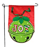 Christmas Garden Flag – Holiday JOY Bell Merry Christmas Garden Flag with 3D Bells and Leaves on Burlap – 12×18 Home Garden Flag
