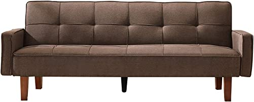 LTTROMAT Foldable Modern Futon Bed, for Small Room Apartment Brown Sofas