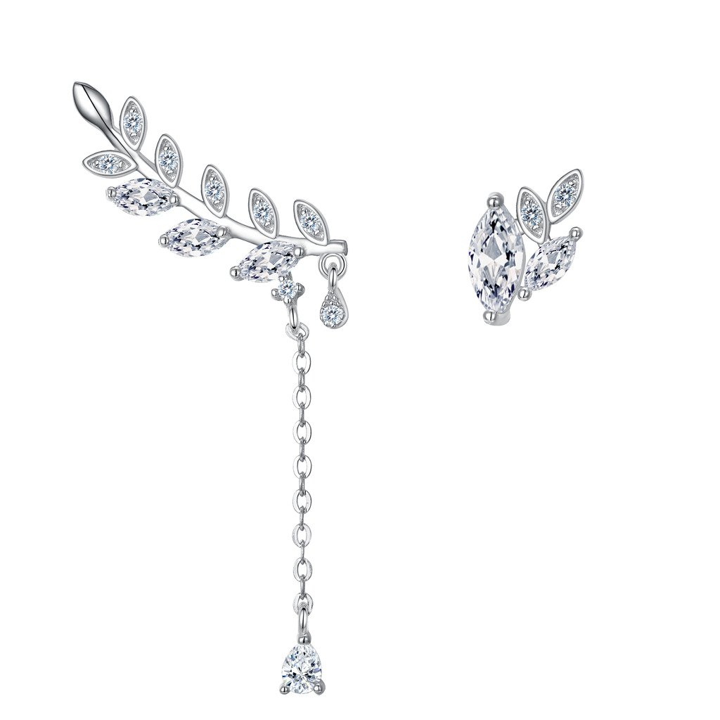EVER FAITH 925 Sterling Silver CZ Leaf Tear Drop Ear Cuff Sweep Stud Earrings Post 1 Pair Clear by EVER FAITH