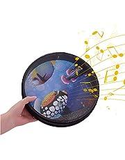 10-inch Solid Wooden Ocean Drum Sea Wave Drum Frame Drum Gentle Sea Wave Sound Musical Toy Red