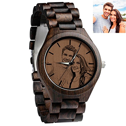 - Custom Engraved Wooden Watch With With Personalized Photo Ebony Double-Sided Customized Unisex Wristwatch (Women)