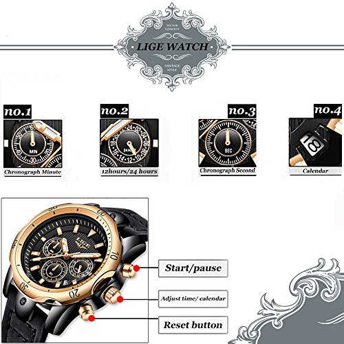 Mens-WatchesLIGE-Mens-Chronograph-Big-Face-Military-Sports-Analog-Quartz-Watch-Gents-Waterproof-Date-Calendar-Business-Casual-Wrist-Watch-Clock-with-Leather-Strap-Black-Dial-Rose-Gold-Black