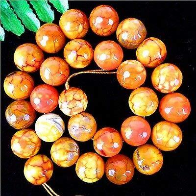 FidgetFidget 1Stripes/27Pcs Fire Agate Round Loose Facet Beads 14mm/38cm B5880