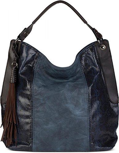 styleBREAKER bolso de hombro con óptica lateral de serpiente, bolso de tipo «shopper», bolso de bandolera, bolsa, señora 02012097, Color Marrón Azul Oscuro