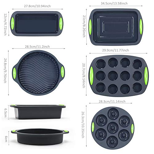To encounter 41 Pieces Silicone Bakeware Set, Silicone Cake Molds, Nonstick Baking Sheet, Silicone Donut Baking Pans, Silicone Muffin Pan with 36 Pack, Silicone Cupcake Baking Cups