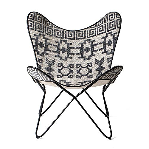 Madeleine Home Massa Butterfly Chair in Printed Rug Top & Canvas Fabric Backing | Handmade with Solid Metal Frame | Indoor Furniture for Office, Balcony, Home, Patio, Living Room | 100% Cotton Twill