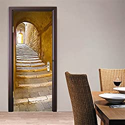 CaseFan 3D Retro Stone Step Door Wall Mural Wallpaper Stickers Vinyl Removable Decals for Home Room Decoration 30.3x78.7