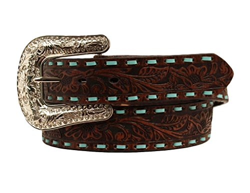 [Nocona Women's Embellished Turquoise Cross Concho Belt Brown Medium] (Womens Concho)