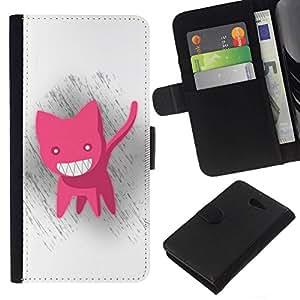 // PHONE CASE GIFT // Moda Estuche Funda de Cuero Billetera Tarjeta de crédito dinero bolsa Cubierta de proteccion Caso Sony Xperia M2 / Funny Cute Pink Cat /