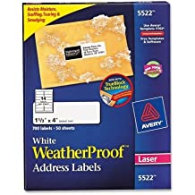 Avery Weather Proof Mailing Label - 1.33amp;quot; Width x 4amp;quot; Length - 14/Sheet - Permanent - 700 / Box - White