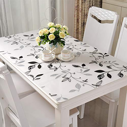 GFZB1201 Tablecloths PVC Waterproof Tablecloth, Anti-scalding Soft Glass Plastic Transparent Frosted Crystal Plate Table Cloth for Coffee Table Dining Table (Color : G, Size : 90150cm)