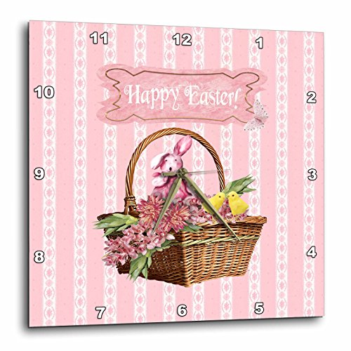 3dRose Beverly Turner Easter Design and Photography - Bunny Rabbit and Chicks in Basket of Pink Flowers, Happy Easter - 15x15 Wall Clock (dpp_272699_3)