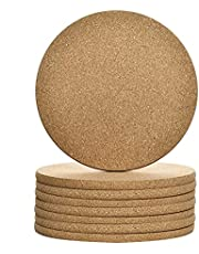"8PCS Cork Trivet Set, Cork Table Mat Round Cork Hot Pads Natural Heat Resistant Cork Mat for Plants,Crafts,Kitchen Counter,Table,Cup, Hot Food(8"" Diameter x 0.4"" Thick)"