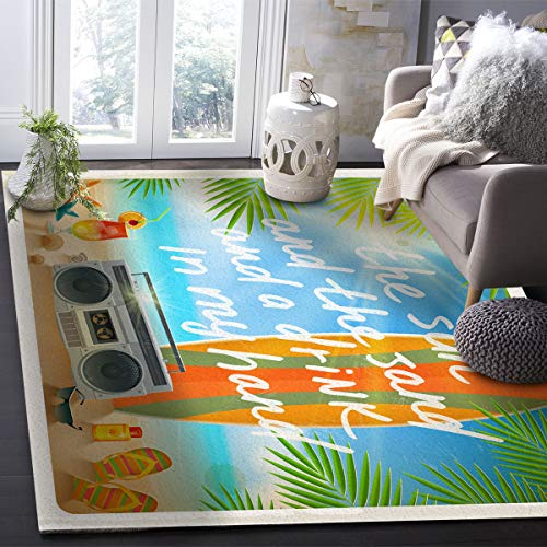 OUR WINGS Modern Area Rug,Tropical Summer Vacation Surfboard Beach 4 Feet by 6 Feet Indoor Area Rugs Living Room Carpets for Home Decor Bedroom Nursery Rugs